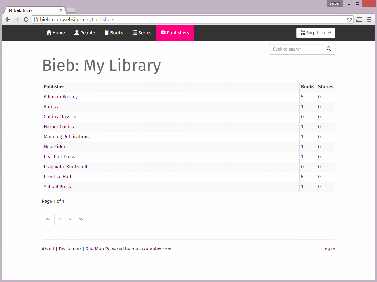 Bieb - Publisher Index - LG View