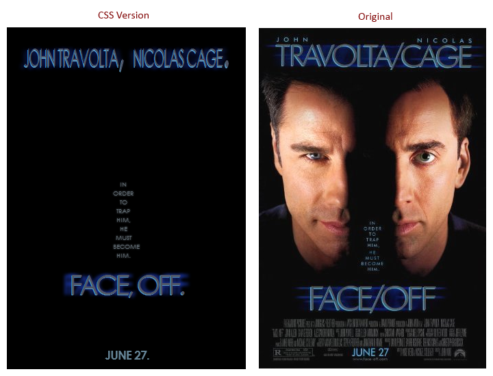 Face/Off Comparison
