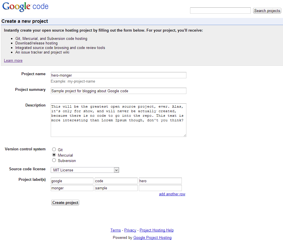 Creating a Google Code Project