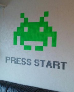 Space invaders wall painting